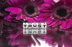 Trust message with pink flowers. In the background stock image