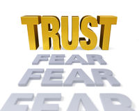 Trust Replaces Fear. A row of plain gray FEARs end with a bright, gold TRUST. Shallow DOF with focus is on TRUST. on white vector illustration