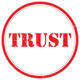 Trust rubber stamp. An illustration of a rubber stamp with the text 'trust Stock Image