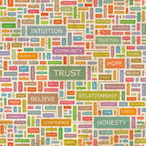TRUST. Seamless pattern. Concept related words in tag cloud. Conceptual info-text graphic. Word collage Stock Images