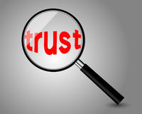 Trust. Test with magnifying glass on brown background vector illustration