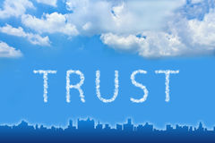 Trust text on cloud Royalty Free Stock Image