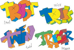 Trust, trick, twin and trigger graffiti Royalty Free Stock Photos
