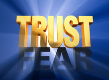 Trust Triumphs Over Fear. A bright, gold TRUST stands atop a dark gray FEAR on a deep blue background brilliantly backlit with light rays shining through both vector illustration