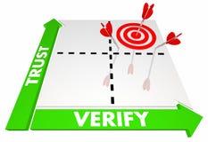Trust and Verify Confirm Get Results Decision Matrix. Words Arrow 3d Illustration Stock Photo