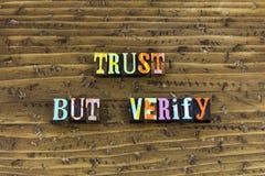 Trust verify honesty integrity respect. Typography letterpress message ethics teamwork business communication moral principles kindness patience behavior royalty free stock photos