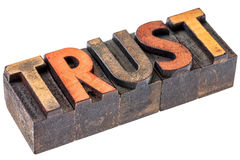 Trust in vintage wood type Stock Photo