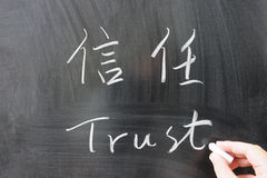 Trust word in Chinese and English Royalty Free Stock Photos