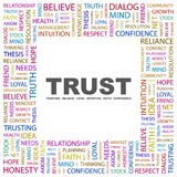 TRUST. Word cloud illustration. Tag cloud concept collage. Usable for different business design Stock Photo