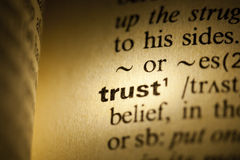 Trust. Word Trust in a dictionary Stock Images