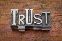 Trust word in metal type Royalty Free Stock Photo