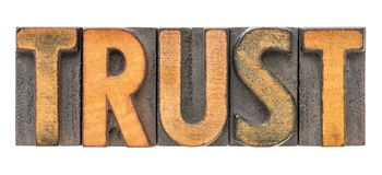 Trust word in vintage wood type. Trust - isolated word abstract in vintage letterpress wood type block stained by color inks Royalty Free Stock Photos