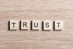 Trust word of wooden elements Stock Photography