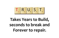 Trust word in a wooden illustration blocks. With saying in white backgrond Stock Images
