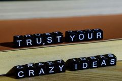 Trust your crazy ideas on wooden blocks. Motivation and inspiration concept stock photo