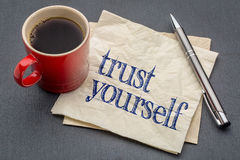 Trust yourself advice on napkin Royalty Free Stock Photography