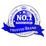 Trusted Brand. Best seller, Premium Quality - shiny icon / label / badge. Stock Photo