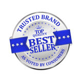 Trusted Brand. Best seller - shiny icon / label / badge. Trusted Brand. Best seller - icon / label / badge Stock Photography