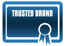 TRUSTED BRAND blue certificate. Illustration graphic image concept Stock Images