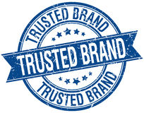Trusted brand grunge retro blue stamp Royalty Free Stock Photos