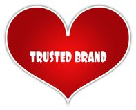 TRUSTED BRAND on red heart sticker label ilustración del vector