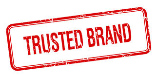 Trusted brand red square grungy stamp Royalty Free Stock Images