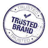 Trusted brand rubber stamp. Faded rubber stamp and seal with trusted brand written inside the stamp Stock Photo