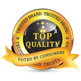 Trusted Brand. Top Quality, Voted by consumers - shiny icon / label / badge. Stock Image