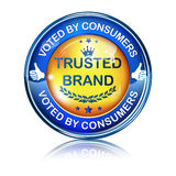 Trusted Brand. Top Quality, Voted by consumers - shiny icon / label / badge. Royalty Free Stock Photos