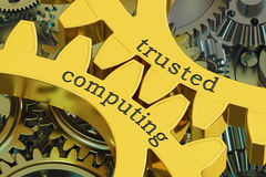 Trusted computing concept on the gearwheels, 3D rendering. Trusted computing concept on the gearwheels, 3D Royalty Free Stock Image
