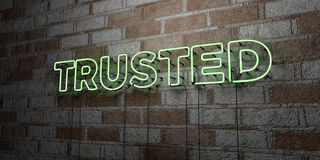 TRUSTED - Glowing Neon Sign on stonework wall - 3D rendered royalty free stock illustration. Can be used for online banner ads and direct mailers stock illustration
