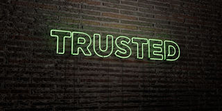 TRUSTED -Realistic Neon Sign on Brick Wall background - 3D rendered royalty free stock image Royalty Free Stock Photo