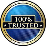 Trusted One Hundred Percent Icon. Trusted and secure 100 percent, guarantee round gold label icon with stars Vector Illustration