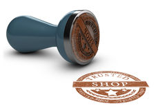 Trusted Shop Mark Over White Royalty Free Stock Image