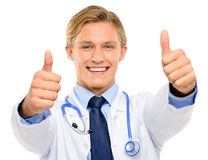 Trusted young Doctor isolated on white background Royalty Free Stock Image
