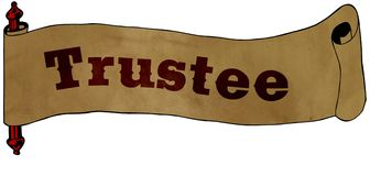 TRUSTEE text on old scroll paper drawing illustration. Concept Stock Photos