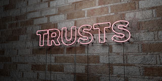 TRUSTS - Glowing Neon Sign on stonework wall - 3D rendered royalty free stock illustration Royalty Free Stock Photos