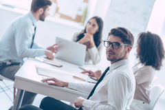 He trusts his business team. Stock Image