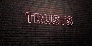 TRUSTS -Realistic Neon Sign on Brick Wall background - 3D rendered royalty free stock image Royalty Free Stock Image