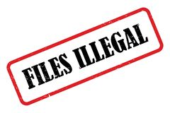 Files illegal stamp heading. On white background stock illustration