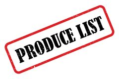 Rectangular Produce List Stamp. A rectangular red and black produce list stamp, isolated on white stock illustration