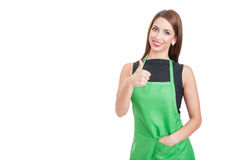 Trustworthy saleswoman doing like gesture. As professional services concept isolated on white background with copy space Stock Photography