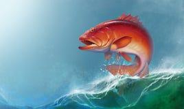 Truta coral sobre contra o contexto de ondas do mar ilustração stock