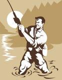 Truta de travamento do pescador da mosca Imagem de Stock Royalty Free