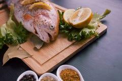 Truta fresca e ingredientes para preparar pratos de peixes na tabela preta Imagem de Stock