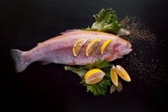 Truta fresca e ingredientes para preparar pratos de peixes na tabela preta Imagens de Stock