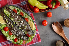 Truta Roasted com vegetal Foto de Stock