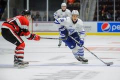 Trutas prateadas de Mississauga contra Ottawa 67 Jogo de hóquei fotos de stock royalty free