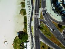 Truteń fotografia Pepe plaży boardwalk i Lucio Costa ulica, Rio De Janeiro zdjęcie royalty free