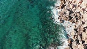 Truteń lata nad przejrzystą błękita jasnego oceanu wodą z falami załamuje się przeciw skalistych gór falezom bryzga wh i tworzy zdjęcie wideo
